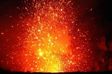 Huge, violent lava explosion.