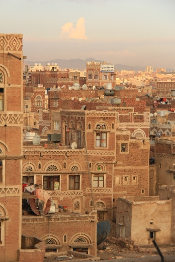 Sunset light over Yemeni old city.
