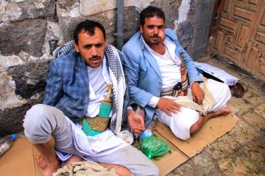 Cheeks full of qat - very common in Yemen.